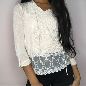 Sweaters - Baby Pink Lace Hoodie